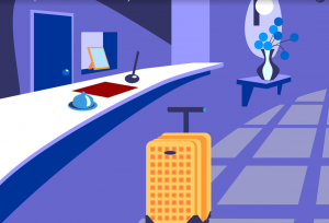 An illustration of hotel reception cashier's desk