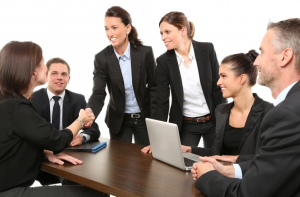 An image of employees in a meeting